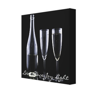 Black White Champagne Bottle Flute Glasses Festive Canvas Print