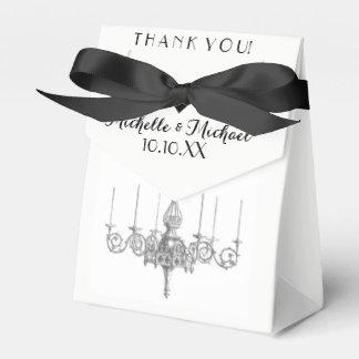 Black White Chandelier Names Date Wedding Favor Favour Box