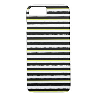 Black White & Chartreuse Striped iPhone 7 Case