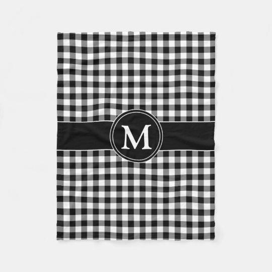 Black & White Checked Gingham Pattern Monogram Fleece