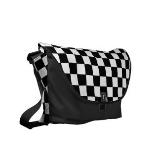 Black white checked - Messenger Bag