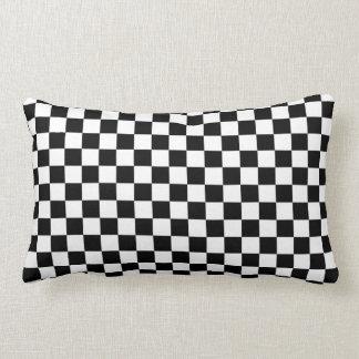 Black & White Checkerboard Background Lumbar Cushion