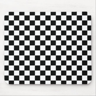 Black & White Checkerboard Background Mouse Mat
