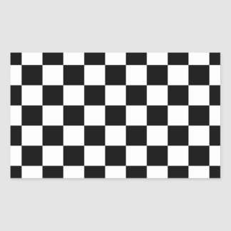 Black & White Checkerboard Background Rectangular Sticker