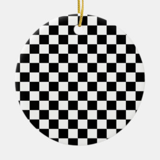 Black & White Checkerboard Background Round Ceramic Decoration