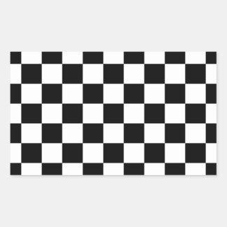 Black & White Checkerboard Background Rectangular Sticker