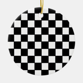 Black & White Checkerboard Custom Christmas Ornament