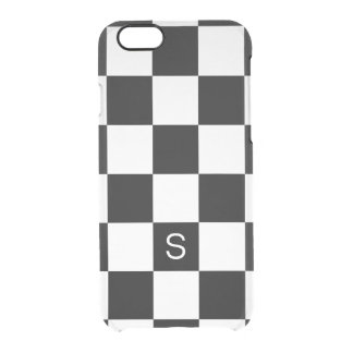 Black White Checkered Monogram Clear iPhone 6/6S Case
