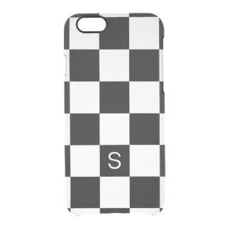 Black White Checkered Monogram iPhone 6 Plus Case