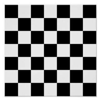 Black & White Checkered Pattern Poster