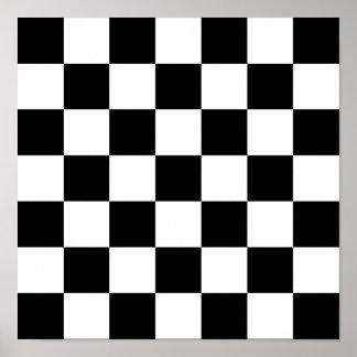 Black & White Checkered Pattern Poster