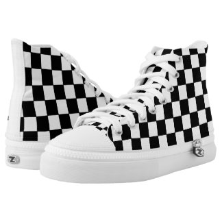 Black White Checkered Pattern Printed Shoes