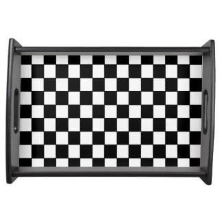 Black White Checkered - Serving Tray