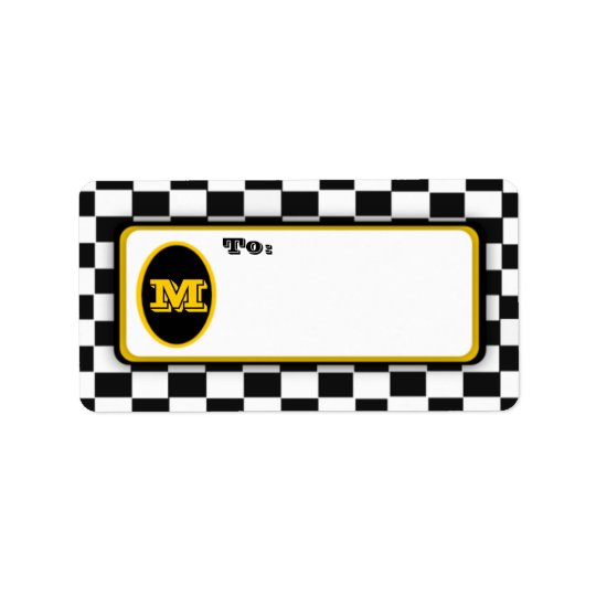 Black White Chequerboard Monogrammed Mail Labels