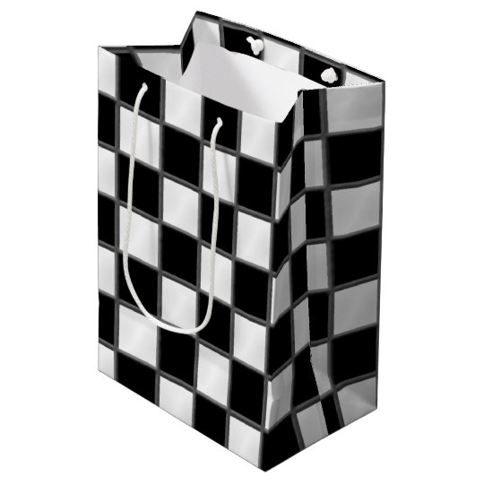 Black & White Chequerboard Pattern Medium Gift Bag