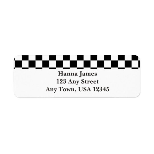 Black White Chequerboard Pattern Personalised