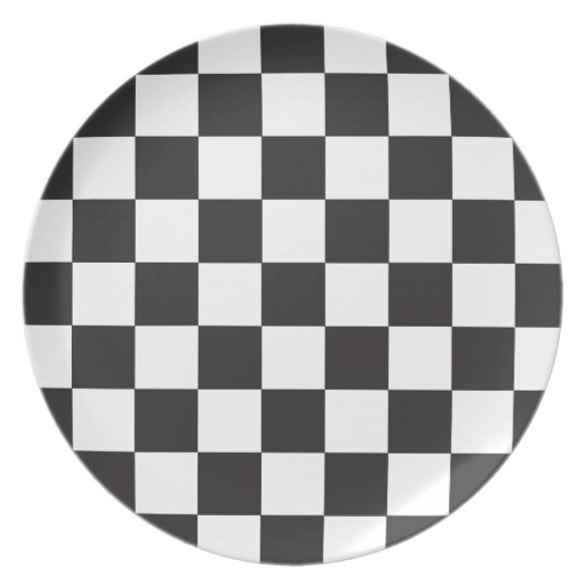 Black | White Chequered Flag Pattern Plate