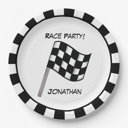 Black White Chequered Flag Race Party Name Paper