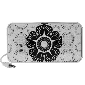 Black & White Cherry Blossom Circle  Pattern Notebook Speakers