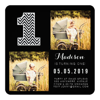 Black & White Chevron 1st Birthday Photo Cards