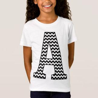 Black & White Chevron A Monogram Girl's T-Shirt