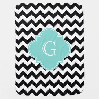 Black White Chevron Aqua Quatrefoil Monogram Baby Blanket