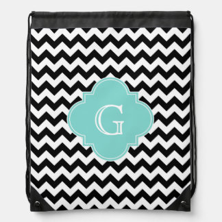 Black White Chevron Aqua Quatrefoil Monogram Drawstring Bag
