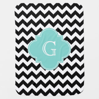 Black White Chevron Aqua Quatrefoil Monogram Swaddle Blankets