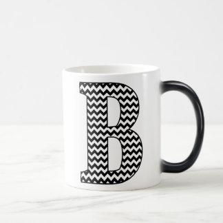 Black & White Chevron B Monogram Morphing Mug