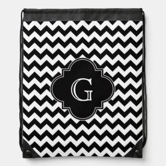 Black White Chevron Black Quatrefoil Monogram Drawstring Bag