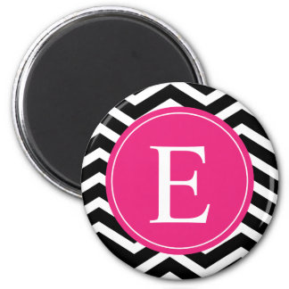 Black White Chevron Bright Pink Monogram 6 Cm Round Magnet