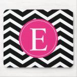 Black White Chevron Bright Pink Monogram Mousepads