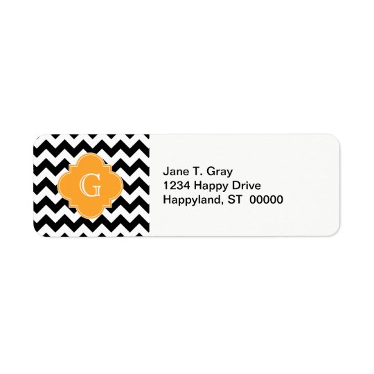 Black White Chevron Cantaloupe Quatrefoil Monogram Return Address Label