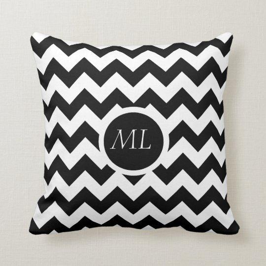 Black & White Chevron Circle Monogram Throw Pillow