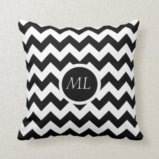 Black & White Chevron Circle Monogram Throw Pillow