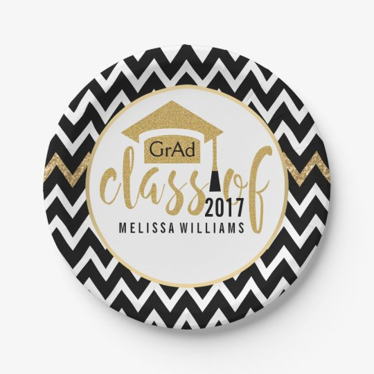 Black & White Chevron Class Of 2017 Gold