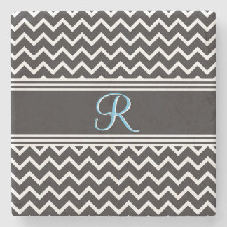 Black | White Chevron Gothic Zigzag Monogram Stone Coaster
