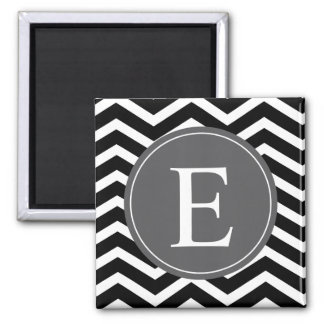 Black White Chevron Gray Monogram Magnet