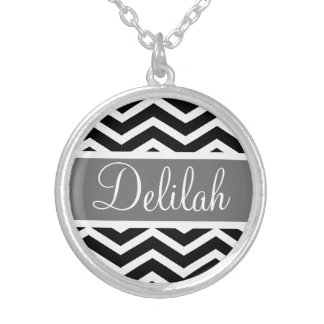 Black White Chevron Gray Name Silver Plated Necklace