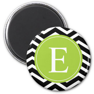 Black White Chevron Green Monogram Magnet