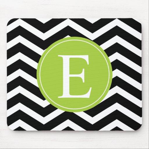 Black White Chevron Green Monogram Mousepad