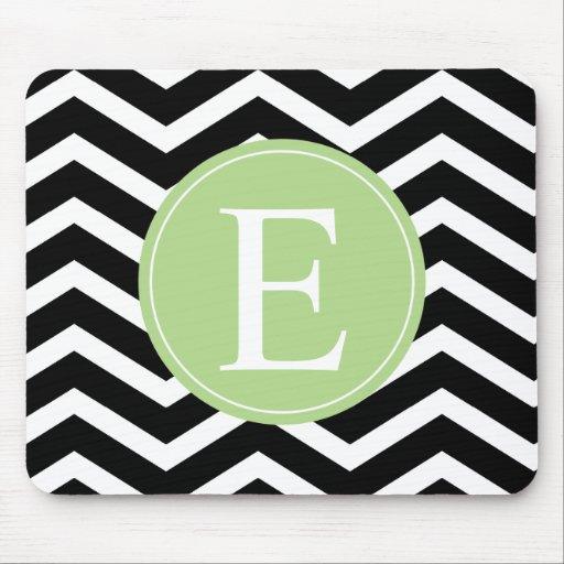Black White Chevron Green Monogram Mouse Pad