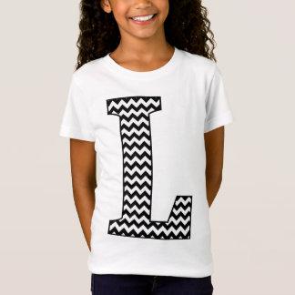 Black & White Chevron L Monogram Girl's T-Shirt