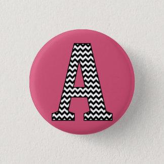 Black & White Chevron Letter A Monogram 3 Cm Round Badge
