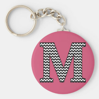 Black & White Chevron M Monogram Basic Keychain