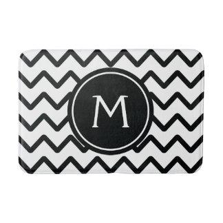 Black & White Chevron Monogram Bath Mat