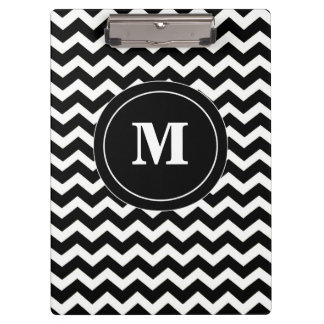 Black White Chevron Monogram Clipboard