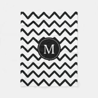 Black & White Chevron Monogram Fleece Blanket