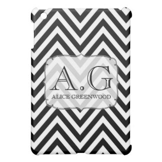 Black & White Chevron Monogram IPAD Mini Cover