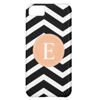 Black White Chevron Orange Monogram iPhone 5C Case